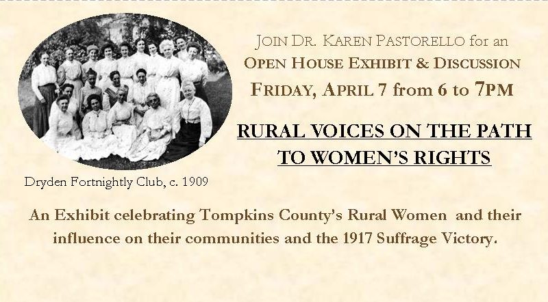Rural Voices on the Path to Women's Rights Exhibit Open House- Friday, April 7 from 6 to 7 p,