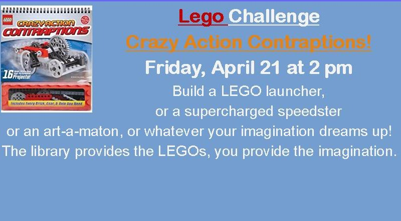 Lego Challenge – Friday, April 21 at 2 pm