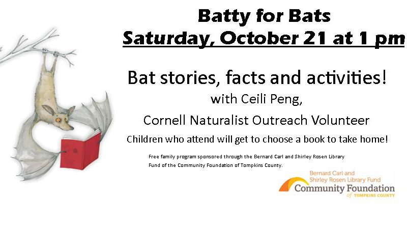 Batty for Bats – Saturday, October 21 at 1 pm