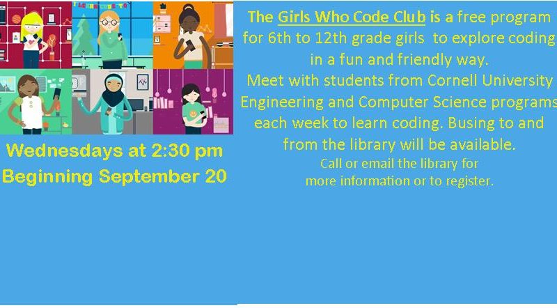 Girls Who Code – Wednesdays at 2:30 pm