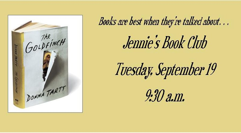 Jennie's Book Club – Tuesday, September 19 at 9:30 am