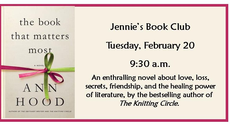 The Book That Matters Most, Jennie's Book Club Feb 20