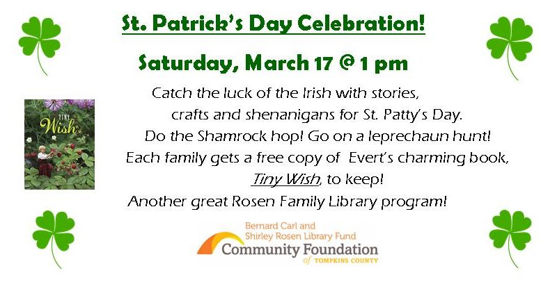 Saint Patrick's Day Celebration – Saturday, March 17 at 1 p.m.