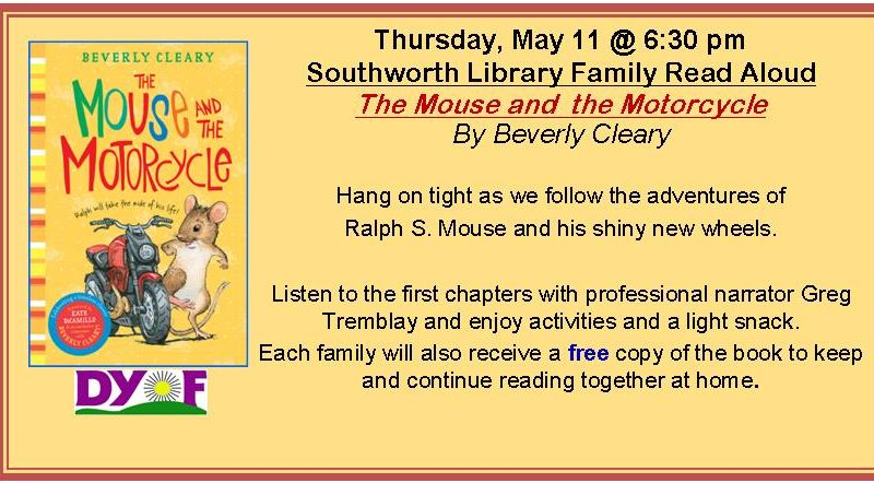 May Family Read Aloud, The Mouse and the Motorcycle