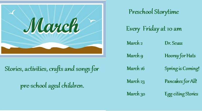 March storytime daets