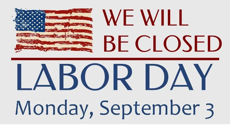 Library closed labor day Monday, September 3