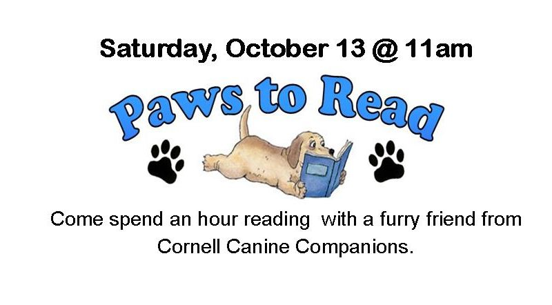 Paws to Read with Cornell Canine Companions, Saturday, October 13 at 11 a.m.