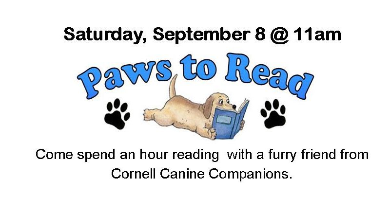 Paws to Read, Saturday Sept 8