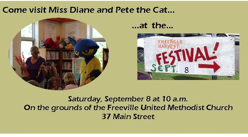 Miss Diane and Pete the Cat at Freeville Harvest Festival