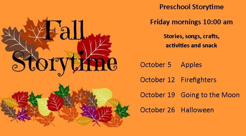 October storytime, apples, firefigthers, going tot he moon,