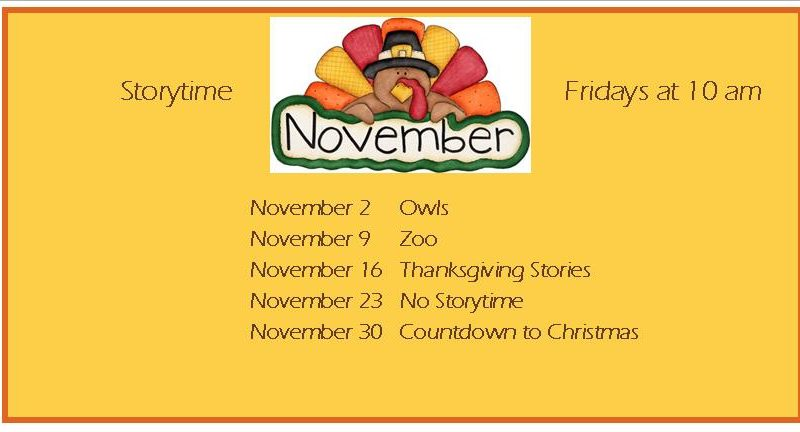 List of Friday Storytimes for November