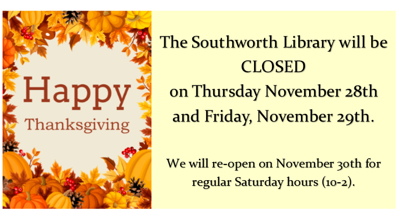 Library closed November 28th and 29th