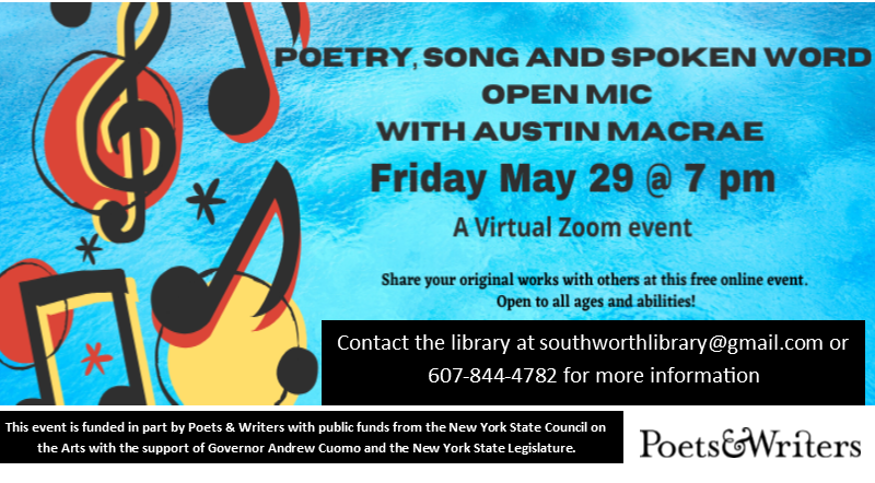 Poetry,  Song and Spoken Word Open Mic Night Friday, May 29 at 7 pm