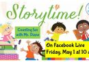 Storytime on Facebook Live with Ms. Diane Friday at 10 am
