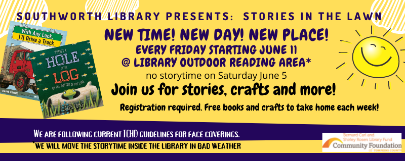 Preschool Storytime every Friday at 10 am for the summer